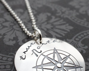 True North Compass Necklace - Personalized Compass Rose Pendant in Sterling Silver - You are my true North by EWD - Inspirational Grad Gifts