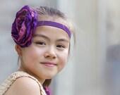 Large Rose Headband, Boho, Bohemian, Pink and purple, Toddler headband, Girl's headband, Wedding, Photo shoot, Matches dress, Spring, Easter