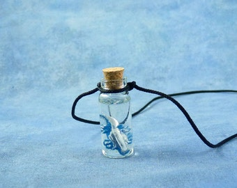 Blue Sea Dragon Specimen Jar Necklace  - Handmade Science Jewelry