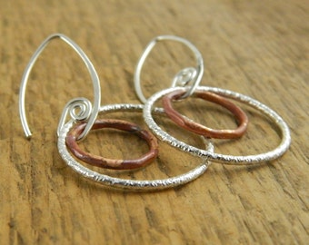 Double hoop earrings, sterling silver and copper, ready to ship, double hoops, handmade fiddlehead earwires.