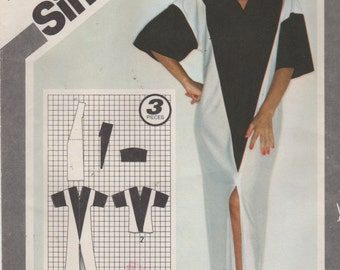 Simplicity 9919 1980 Jiffy Misses V Neck Caftan Pattern Art Deco Color Block Womens Vintage Sewing Pattern Size Small  Bust 32 - 34 UNCUT