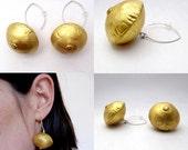 Recycled bottlecap dangles, eco design jewelry, wedding jewelry, bridal earrings