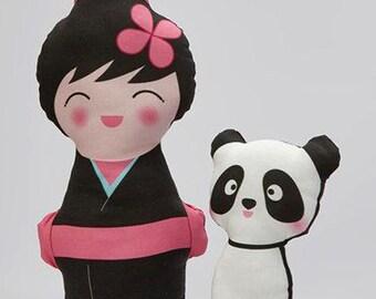 ON SALE Japanese Kokeshi Doll - Girl -  Baby Plush Toy - Toddler Toy - Panda Plush - Stuffed Animal