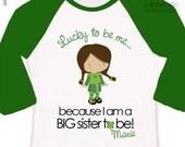 Big sister to be Irish lass lucky to be me pregnancy announcement raglan shirt - fun St. Patrick's Day pregnancy announcement
