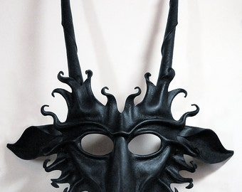 Goat leather mask in semi-gloss black, Pan, faun, Baphomet, Capricorn, devil, Halloween