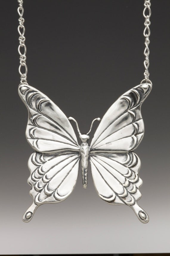 Butterfly Necklace Silver - Large Butterfly Pendant Silver Butterfly - Butterfly Jewelry - Butterfly Wings - Wing Jewelry - Silver Wings