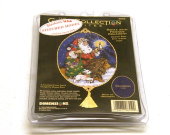 Santa with Friends Counted Cross Stitch Kit 8559 from Dimensions Gold Collection Petites