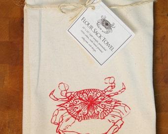 Crab Design Flour Sack Towel