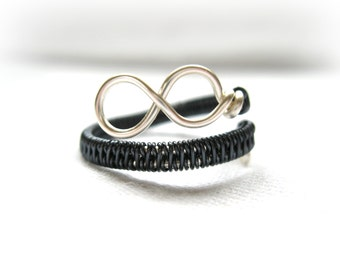 Silver And Blue Steel Infinity Ring - Two Tone - Adjustable Wrap Around Ring