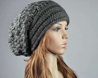 Hand knit hat woman man unisex wool hat slouchy Hat with band charcoal dark grey hat- ready to ship