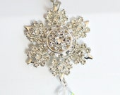 Crystal snowflake necklace - crystal clear  - ice princess - *Last One