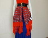 Fringe Shawl Vintage 70s Ethnic Guatemala Woven Tapestry Fringe Hippie Boho Serape Shawl (one size)