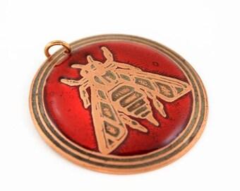 Bee jewelry, bee pendant, bee necklace, honey bee pendant, Ephesus bee, red bee, copper bee, bee charm, honey bee jewelry, bee, honey bee