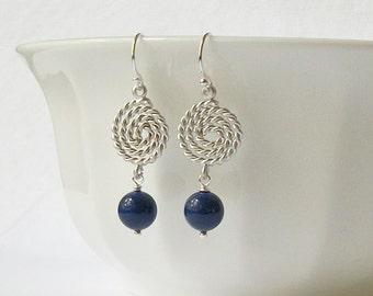 ON SALE Nautical Pearl Silver Dangle Earrings