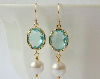 Aquamarine Blue Crystal and Pearl Dangle Earrings, Birthstone Earrings