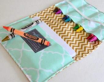 Buy 2 Get 1 FREE . Crayon Wallet . 8 Crayons and Notepad Included . Metallic Gold Chevron . Birthday Party Favor or Gift