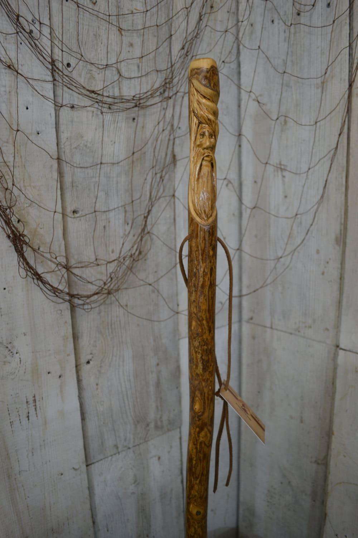 Staff wood spirit walking stick carving hand carved