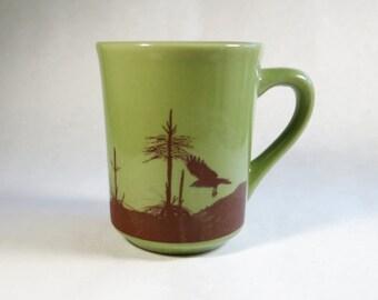 Raven Mug Lime Green 8 Oz Flying Crow Cup Ceramic Pottery Woodland Bird