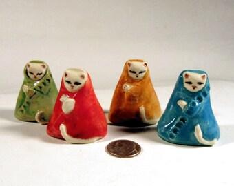 Porcelain Tiny Colorful Kitty Cat - Collectible Miniature Ceramic Folk Art Kitten Figurine