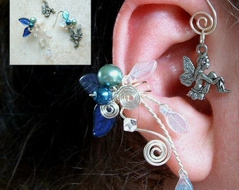 Fairy Bower Ear Cuff Earring PAIR Something Blue