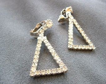 Vintage Clear Rhinestone Triangular Drop / Dangle Earrings