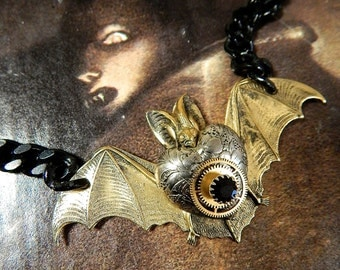 Steampunk Bat Necklace on Heavy Black Chain