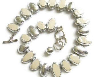 Vintage Necklace signed Anne Klein Etched Silver Tone and Cream Beige Enamel Runway