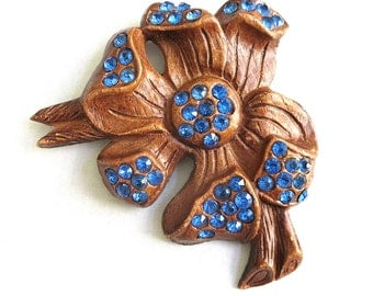 Composite Dogwood Flower Brooch with Bright Blue Rhinestones Vintage Arts and Crafts