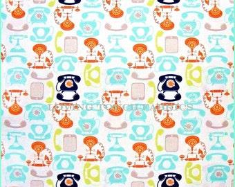"Riley Blake Retro Style Vintage Dial Telephones Cotton Fabric 1/2 Yd 18"" x 44"""