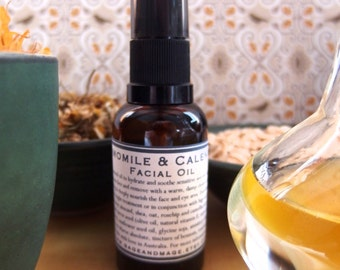 Chamomile and Calendula Facial Oil 30ml -100% Natural - For Sensitive and Dry Skins