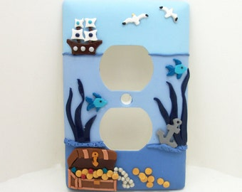 Nautical Light Switch or Outlet Cover - Under the Sea Nursery Decor - Blue - Toggle or Rocker Cover - Polymer Clay
