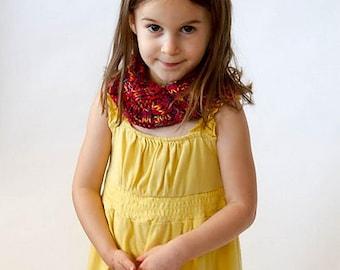 handknit children's cowl, red, rainbow