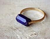Lapis Ring, Gold Fill Ring, Gemstone Ring, Emerald Cut Ring - Custom Sizing - Blue Stone Ring