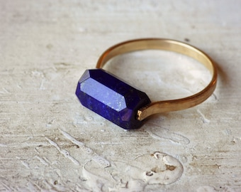 Lapis Ring, Gold Fill Ring, Gemstone Ring, Emerald Cut Ring - Custom Sizing - Blue Stone Ring