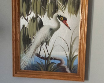 Mid Century M. DEVOE Original - Tropical Bird Foil Painting
