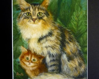 """Print - Mother Cat and Kitten - 8""""x10"""" - Archival Paper"""