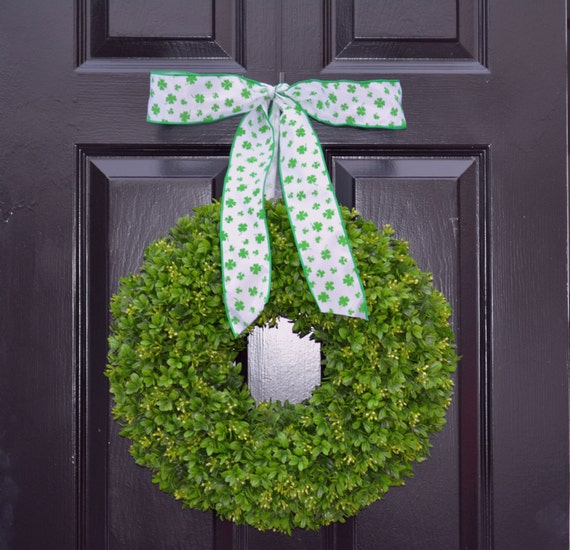 Shamrock Boxwood St Patrick Day Wreath St Patricks Day Boxwood Wreath- Irish Decor- Door Wreath- Removable Bow Year Round Wreath