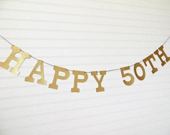 Glitter Happy 50th Banner - 5 inch Letters - 50th Birthday Garland Glitter Birthday Party Banner Anniversary Banner Glitter Party Banner