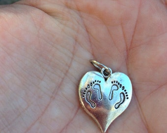 Twin Baby Footprints on Heart Charm, Pendant (Twins, Baby, Necklace, mother)