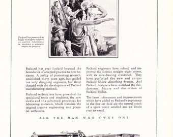 1920s Vintage Advertisement - 1929 Packard Car Automobile - Antique Art Illustration Print 20s Era Art Ad for Framing