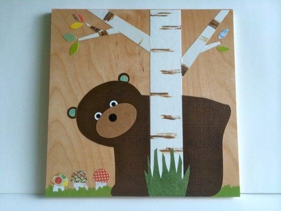 Wooden Bear Art Board, Brown Bear Peeking, Kids Wall Art, Nursery Wall Art, eco-friendly