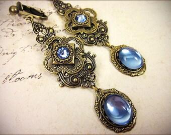 Light Blue Renaissance Earrings, Sky, Victorian Bridal Jewelry, Medieval Jewelry, Renaissance Wedding, Ren Faire, Garb, Avalon