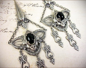 Black Renaissance Earrings, Gothic Chandelier Earrings, Medieval, Handfasting, Pagan Ceremony, Gothic Jewelry, Spikes, Bridal,Millicent