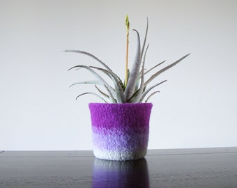 felted wool planter with waterproof lining  - shades of purple - gifts for gardeners - office decor - desk office decor - spring trends