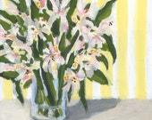 Lilies and Yellow Stripes ORIGINAL Acrylic Painting