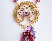Reserved for Sandra, SAMPLE SALE 50% Off - Padma: Gold Filigree Tassel Necklace w/ Gemstones, Alexandrite, Ruby, Amethyst, Garnet, red