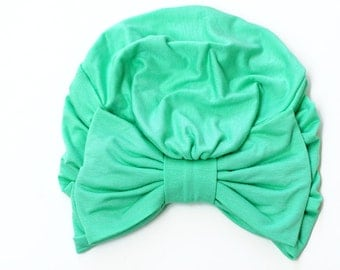 Turban with Bow - Mint Green Hair Wrap in Jersey Knit - Women's Fashion Head Covering - Lots of Colors