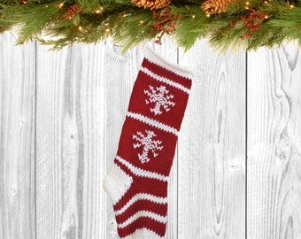 Traditional Red & White Wool Christmas Stocking, Personalized Red Christmas Stocking