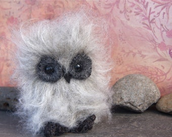 Plush Furry Grey Owl (1) eco friendly stuffed animal faux fur (woolcrazy)