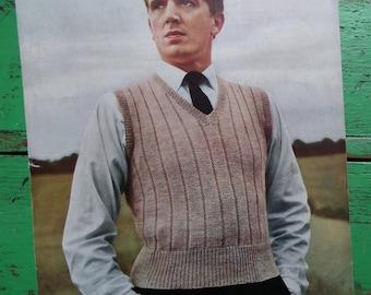 Vintage 1940s Knitting Pattern Mens Sleeveless Pullover Vest Slipover Ribbed Design 40s original pattern Don Maid UK pattern